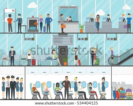 Airport terminal set. Business travel, vacation, tourism. Boarding passengers with luggage and tickets. Sitting in the plane.