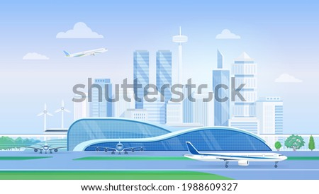 airport terminal with airplanes