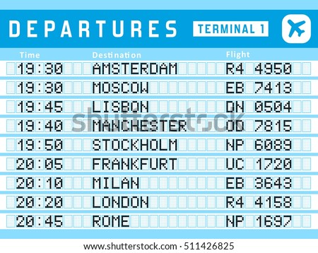 Airport timetable - departure board vector illustration. Travel sign. Flights to Amsterdam, Moscow, Lisbon, Stockholm and Frankfurt.