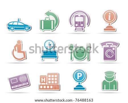 airport, travel and transportation icons 2 - vector icon set