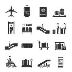Airport travel icons with online ticket reservation and navigation signs in flat style
