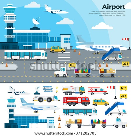 Airport vector flat illustrations. Modern airport exterior with different cargoes. Working day on the airfield. Airplanes, different planes, cars, buildings, tickets, luggage isolated on white