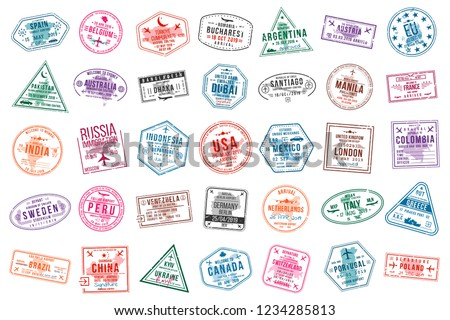 airport, vector, set, stamp, immigration, travel, sign, visa, passport, international, departure, arrival, control, document, journey, destination, border, collection, city, trip, illustration, symbol
