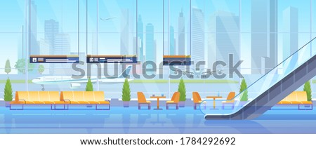Airport waiting hall vector illustration. Cartoon flat modern inside interior, empty seats chairs for waiting passengers in airline departure lounge room, panoramic window and escalator background Сток-фото ©