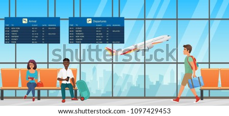 Airport waiting room. Departure lounge with chairs, information panels and people. Terminal hall with airplanes view.