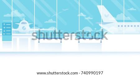 Airport waiting room horizontal Banner. Travel Concept. Flat Vector Illustration.
