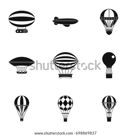 Airship balloons icon set. Simple style set of 9 airship balloons vector icons for web isolated on white background