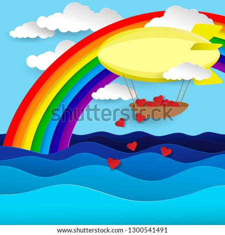 Airship flies over the ocean.  Love in paper cut style. Origami Valentine day. heart, waves, clouds, rainbow, airship. Vector illustration.