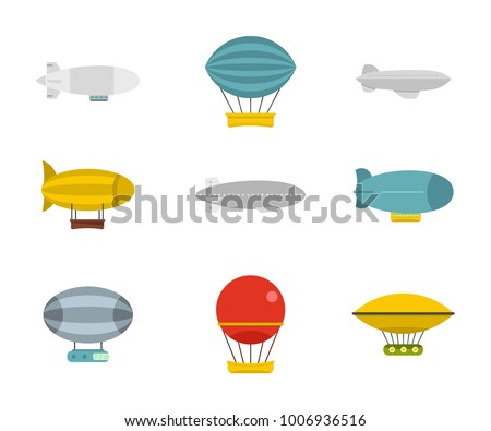 Airship icon set. Flat set of airship vector icons for web design isolated on white background