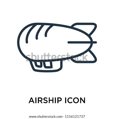 Airship icon vector isolated on white background, Airship transparent sign , thin pictogram or outline symbol design in linear style