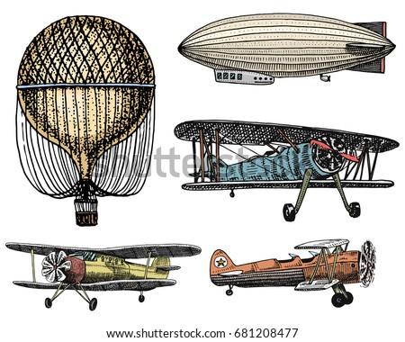 airship or dirigible, air balloon, airplanes corncob. engraved hand drawn in old sketch style, vintage passengers transport.