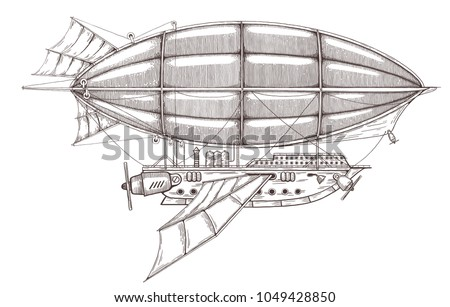 airship sketch in steampunk
