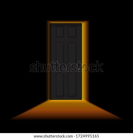 ajar door in a dark room light