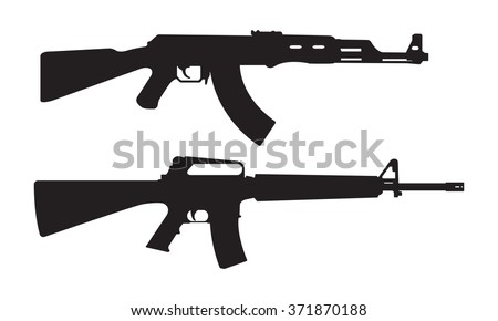 vector illustration of weapons silhouette high detail ez canvas