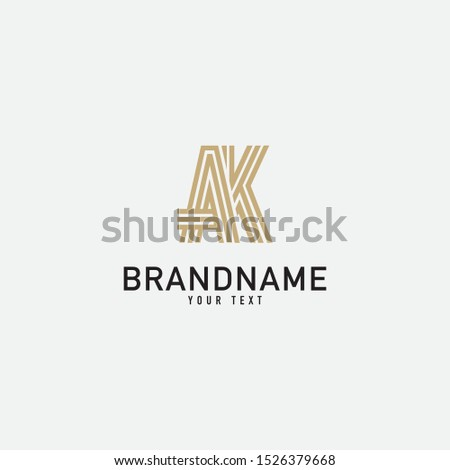 AK Letter Logo With Black Lines Design. Line Letter Symbol Vector Illustration.