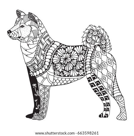 Akita Dog Zentangle Stylized Vector Illustration Freehand Pencil Hand Drawn Pattern