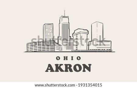 Akron skyline, ohio. Akron hand drawn sketch