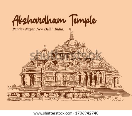 Akshardham Temple sketch Delhi. monument of delhi india.