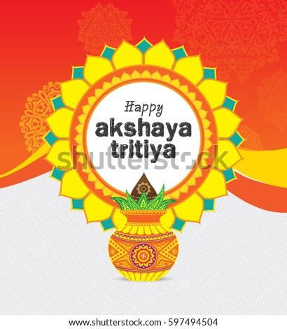 Akshaya Tritiya Background Template with Mangal Kalash