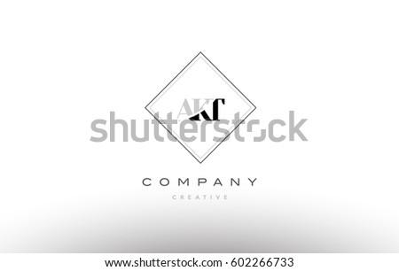 akt a k t retro vintage simple rhombus three 3 letter combination black white alphabet company logo line design vector icon template  Stock fotó ©