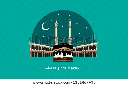 al hajj mubarak creative background with kaaba and green color