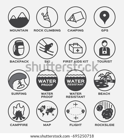 al outdoor icon vector set