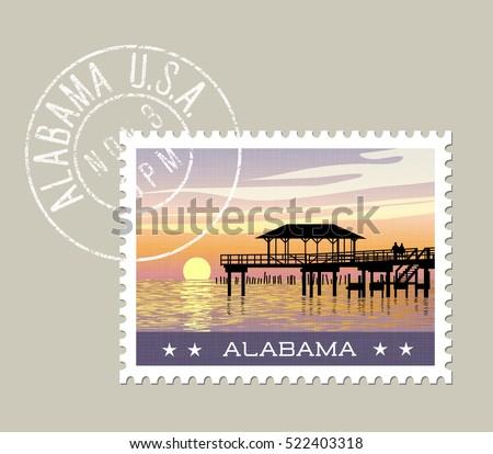 alabama  postage stamp design