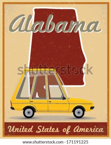 alabama road trip vintage poster