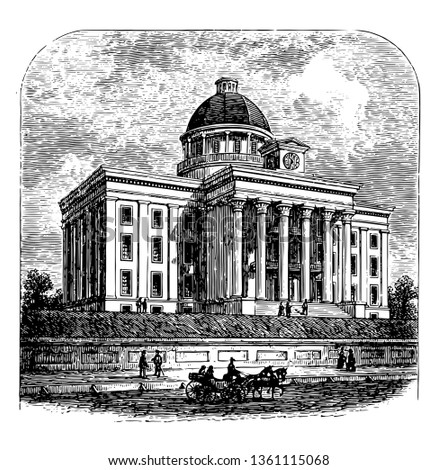 Alabama state capital five political capitals is a national historic landmark built in 1851 vintage line drawing.