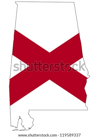 Alabama vector map with the flag inside.