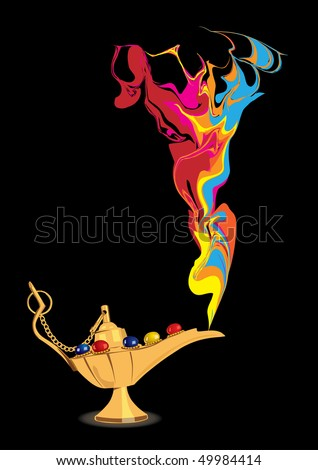 Aladdin's magic lamp with abstract colorful genie figure