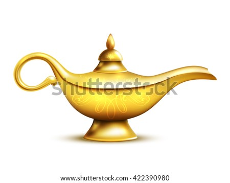Aladdin yellow iron lamp isolated icon with shadow and ornaments on white background vector illustration