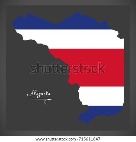 Alajuela  map of Costa Rica with national flag illustration