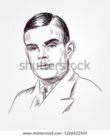Alan Turing famous vector sketch portrait Stok fotoğraf ©