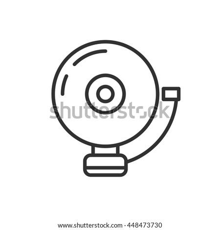 Round Alarm Bell Icon Flat Design