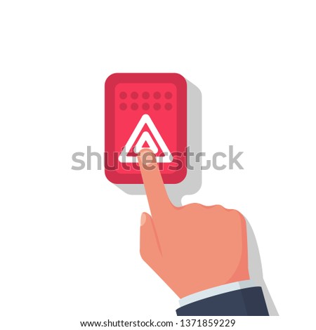 Alarm button car. Alarm system. Person presses the finger button of car. Vector illustration flat design. Isolated on white background.Flashing light.