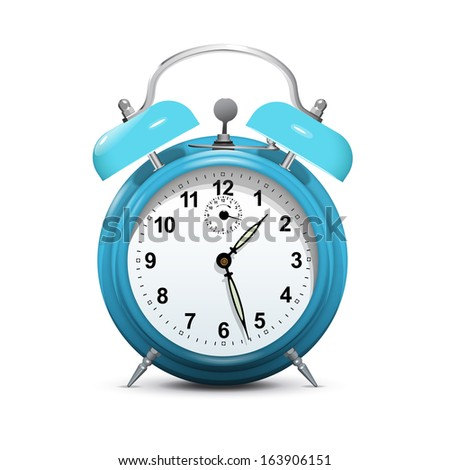 alarm clock blue isolated on