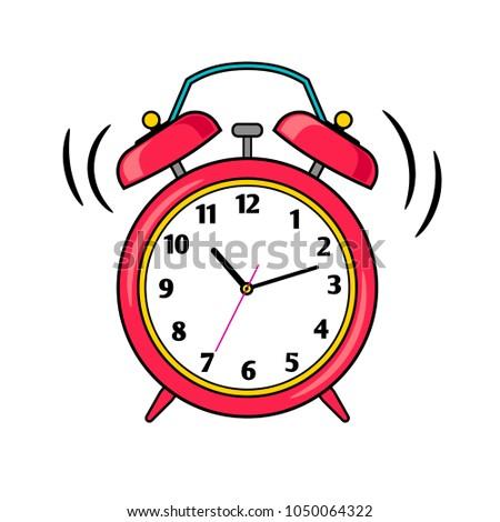 Alarm clock. Cartoon red ringing alert reminder vector illustration, comic waking up morning alarmclock symbol isolated on white background