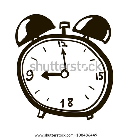 Alarm clock. Clock cartoon. A children's sketch