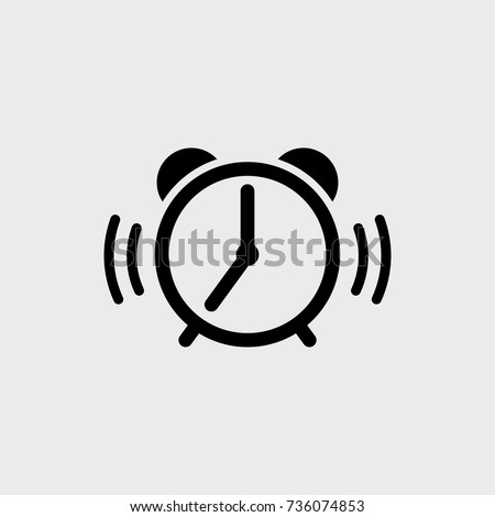 Alarm clock flat vector  icon on a gray background
