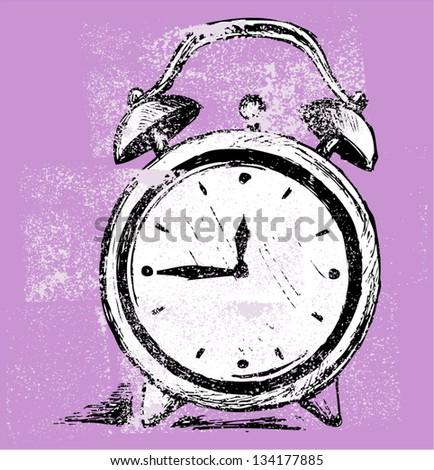 Alarm clock. Grunge style - stock vector