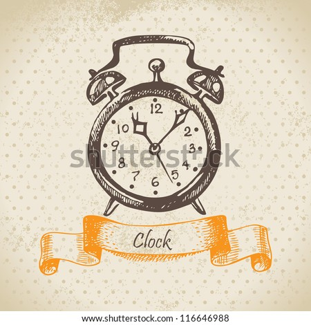 Alarm clock, hand drawn illustration