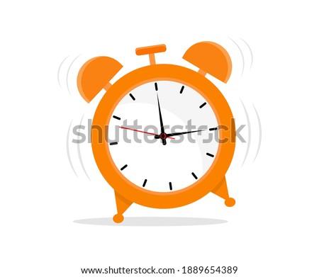 Alarm clock in a flat style. Ringing alarm clock. Wake up.