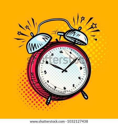 Alarm clock is ringing, wake-up call. Reminder, deadline concept. Vector illustration