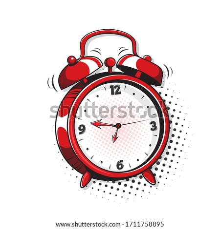 Alarm clock. Pop art, comic book vector illustration of a colorful and dynamic cartoonish image in retro pop art style isolated on white background