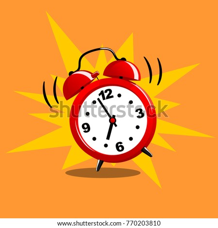 Alarm clock red wake-up time isolated in flat style. Vector illustration