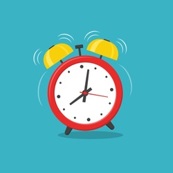 Alarm clock red wake-up time isolated on background in flat style. Vector illustration