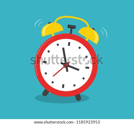 Alarm clock red wake-up time isolated on blue background in flat style illustration