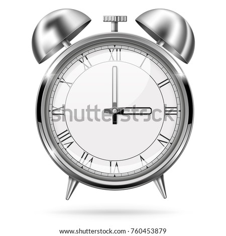 Alarm clock. Retro style. Vector 3d illustration isolated on white background