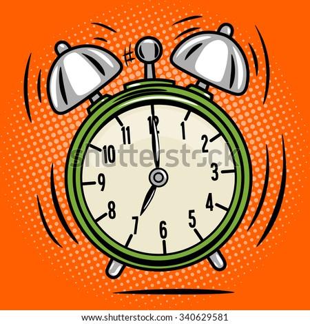 Alarm clock ring comic book pop art retro style vector illustration